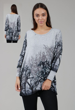 Long Tree Print Round Neck Top