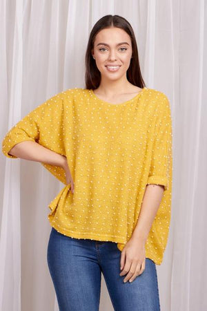 Oversized Polka Dot 3/4 Sleeve Top