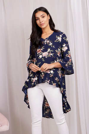 Floral Print Hi-Lo Top With Frill Hem