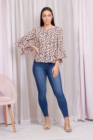 Frill Sleeve Leopard Print Double Layered Top