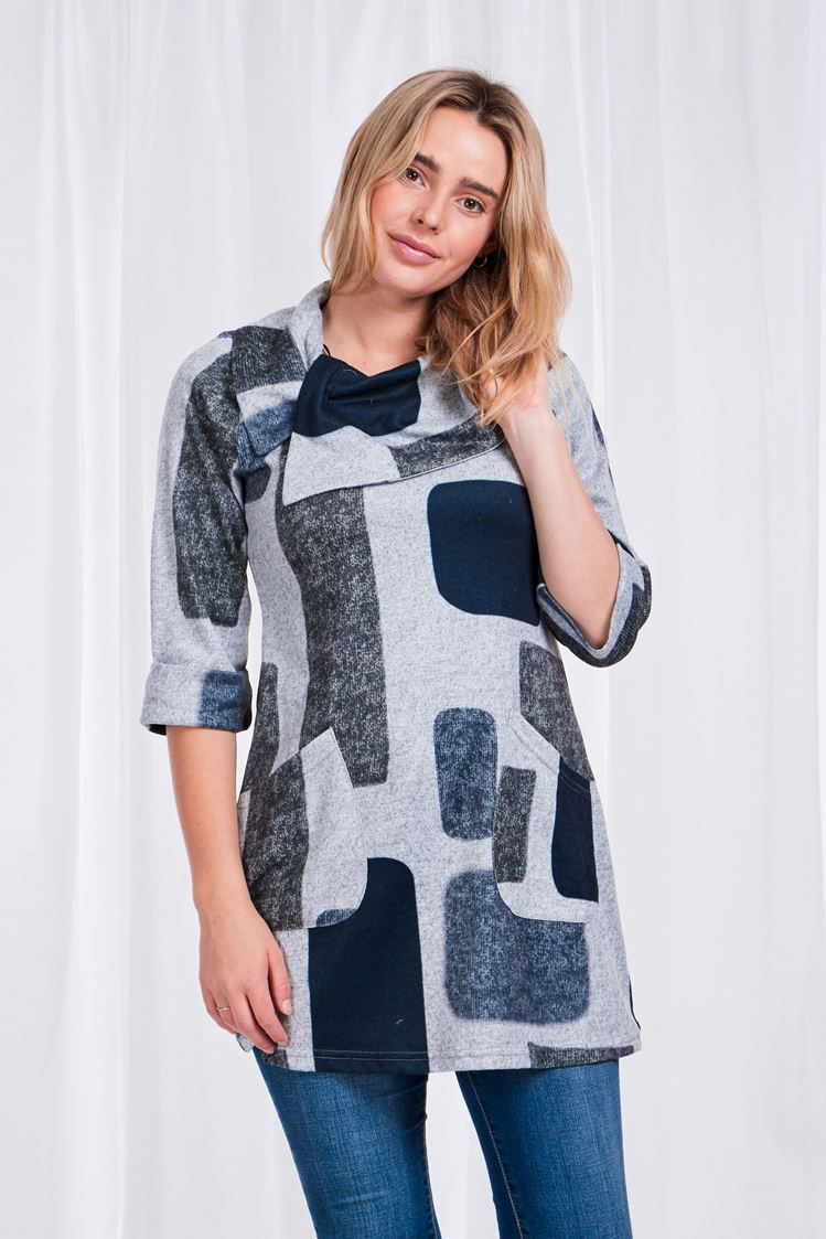 Grey Print Cowl Neck Tunic