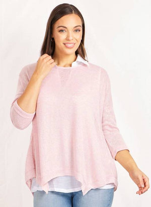Long Sleeve Double Layer Top With Hanky Hem