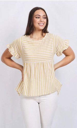 ASYMMETRIC STRIPE PRINT FRILL SLEEVE TOP