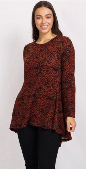 Long Sleeves Animal Print Tunic