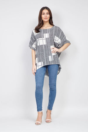 Loose Fit Square Print Top