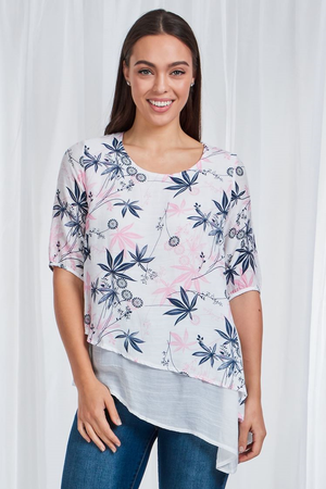 3/4 Sleeve Double Layer Printed Top