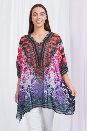 Beaded Bright Print Loose Fit Kaftan