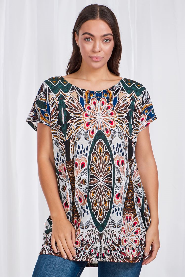 Peacock Print Short Sleeve Top