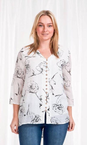 Button Front Rose Print Long Sleeve Top