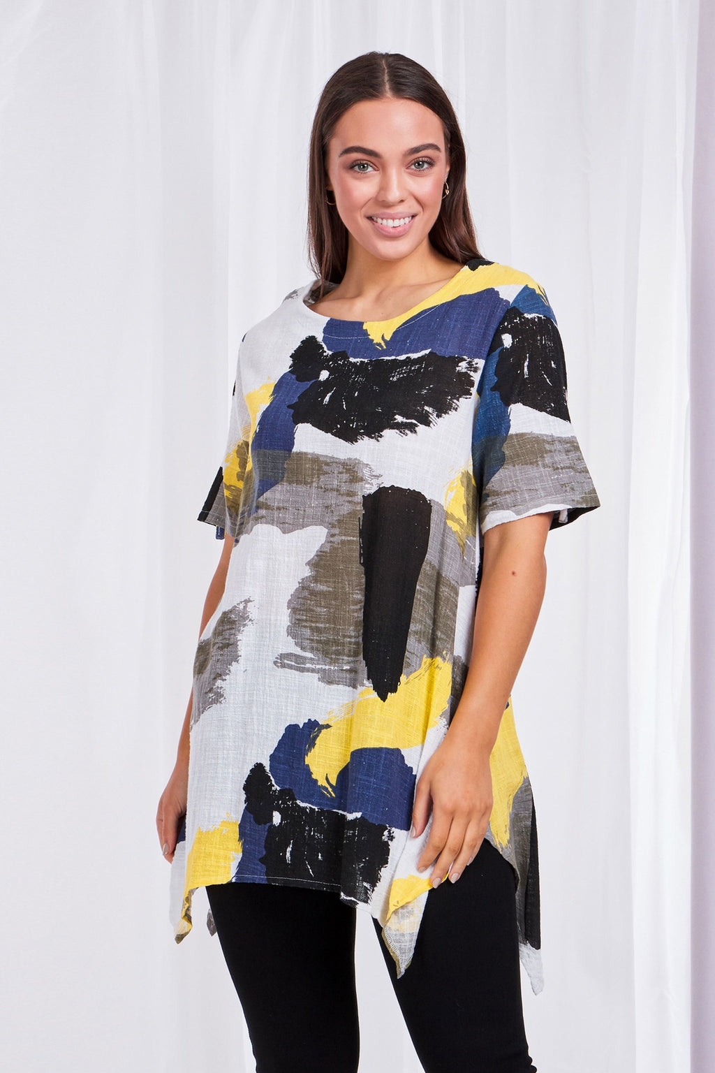 ABSTRACT WATERCOLOUR PRINT TUNIC TOP