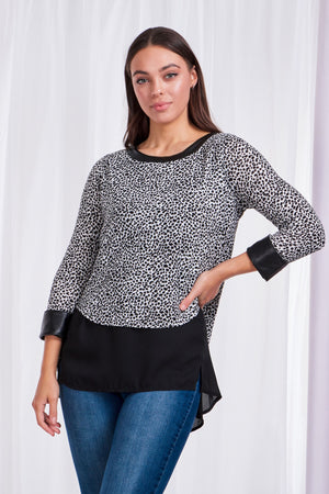 Double Layer Animal Print Top With Leather Look Trim