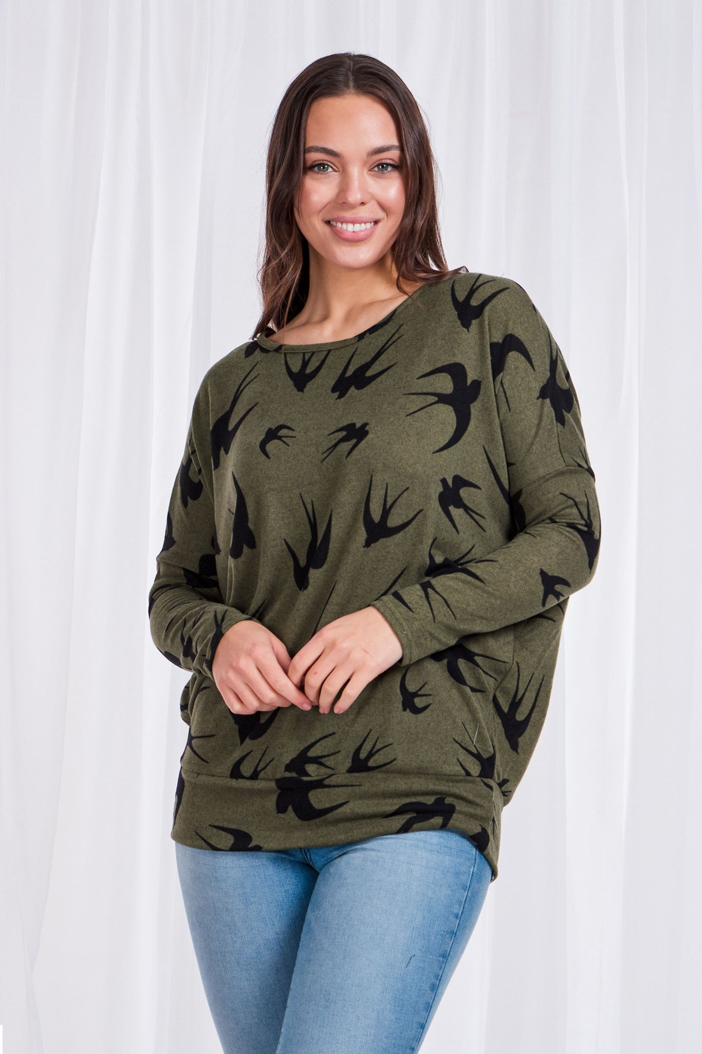 Oversized Bird Print Top With Waistband