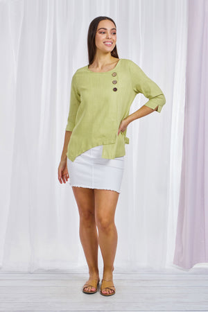 BUTTON FRONT ASYMMETRIC TOP