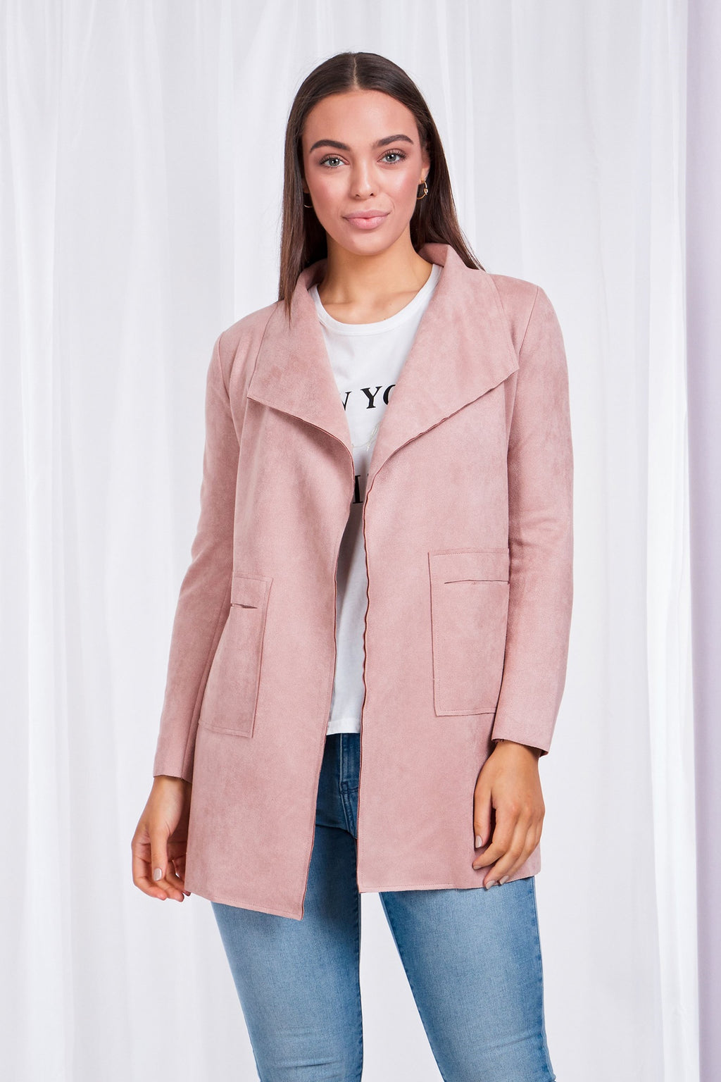 Long Sleeve Faux-Suede Coat