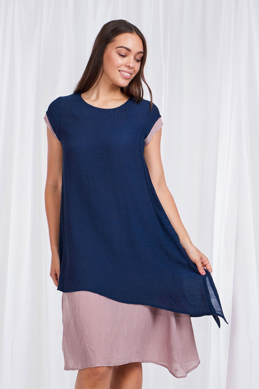 Double Layer Cap Sleeve Dress