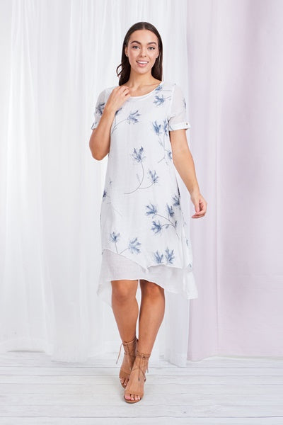 Floral Print Double Layer Short Sleeve Dress