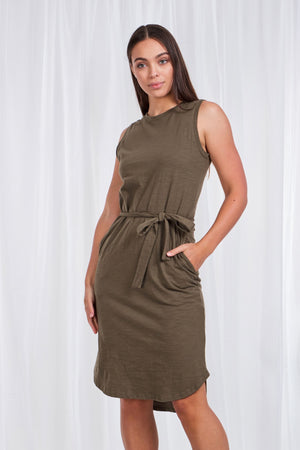 Sleeveless T-Shirt Dress With Tie