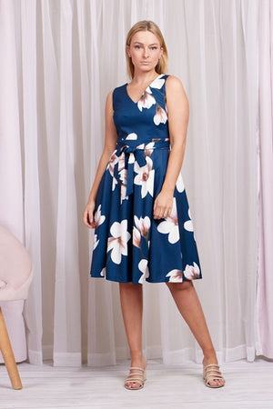 Floral Fit & Flare V-Neck Dress With Tie