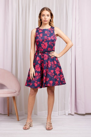 Floral Print Cotton Skater Dress With Belt