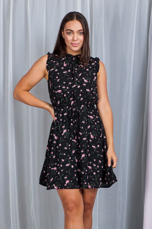 Floral High Neck Dress With Drawstring