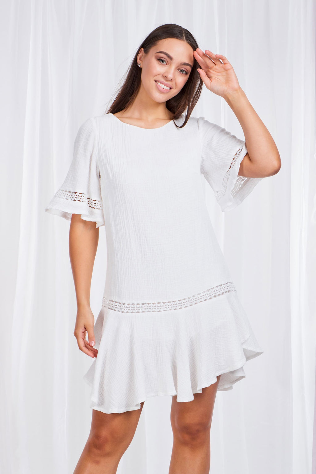 Embroidered Trim Short Dress