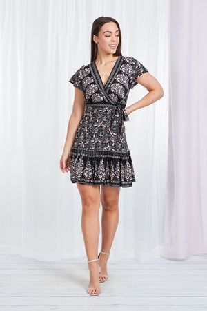 Border Print Short Crossover Dress With Tie