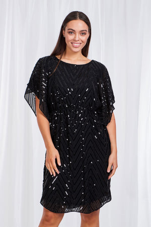 Elastic waist Sequin Batwing Dress