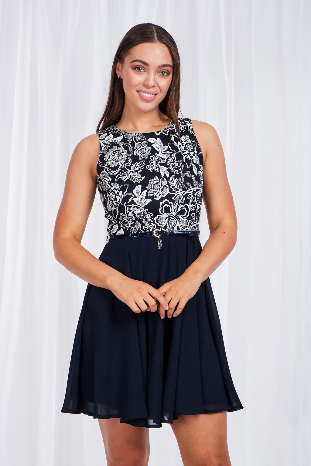Contrast Fabric Skater Dress With Belt