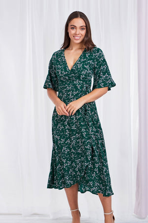 Floral Print Frill Wrap Dress