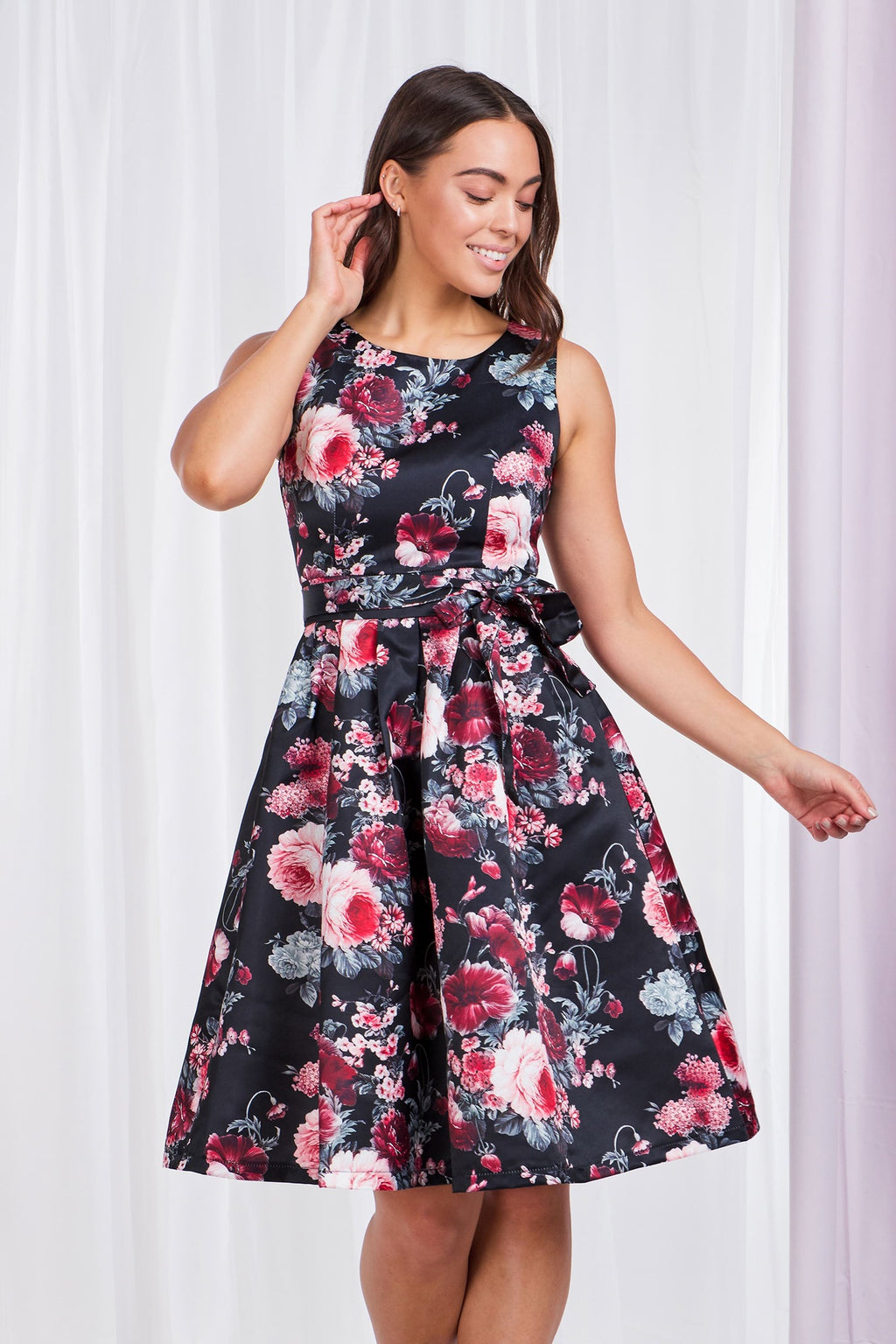 Floral Print Fit & Flare Dress With Tie