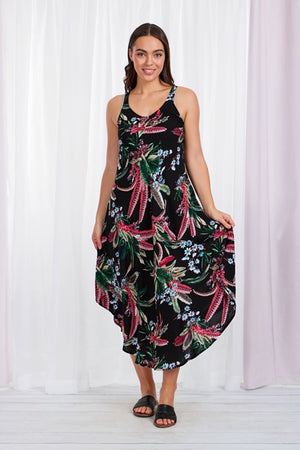 Tropical Print Round Hem Sleeveless Dress
