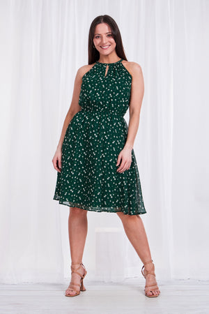 DITSY PRINT KEYHOLE DRESS