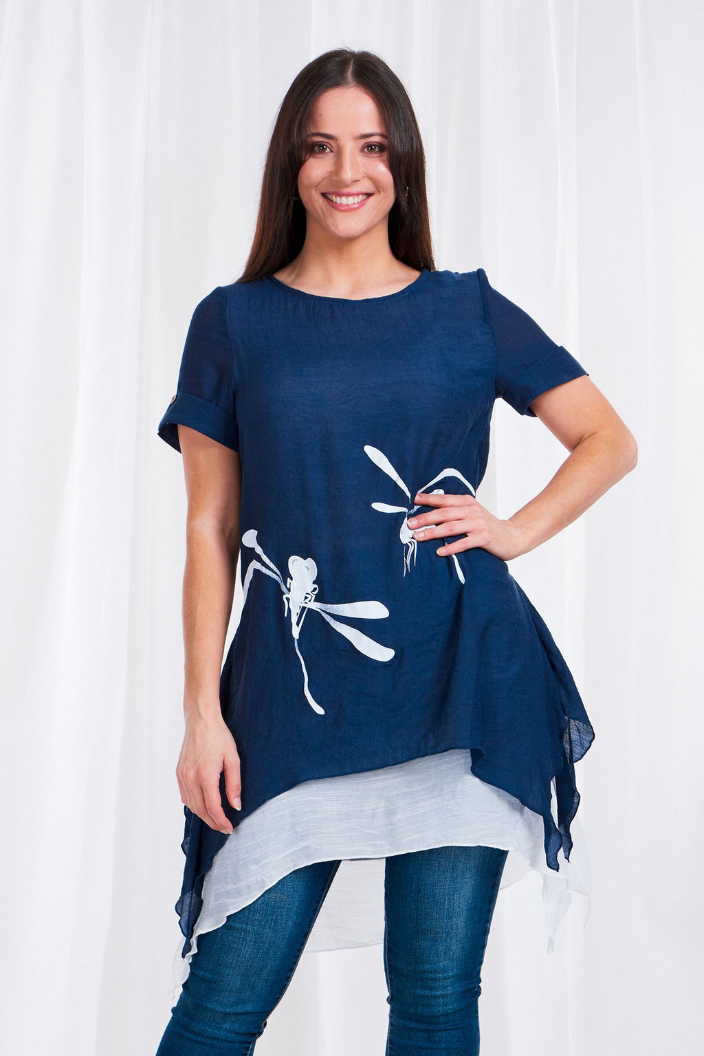 DRAGONFLY PRINT LAYERED HEM TUNIC TOP