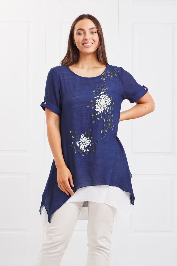 FLORAL LAYERED HEM TUNIC