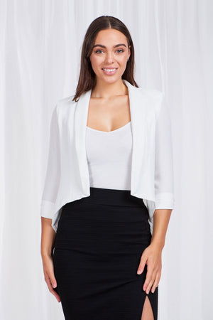 Contrast Fabric Crop Jacket