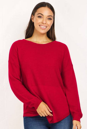 Long Sleeve Pullover With Curved Hem
