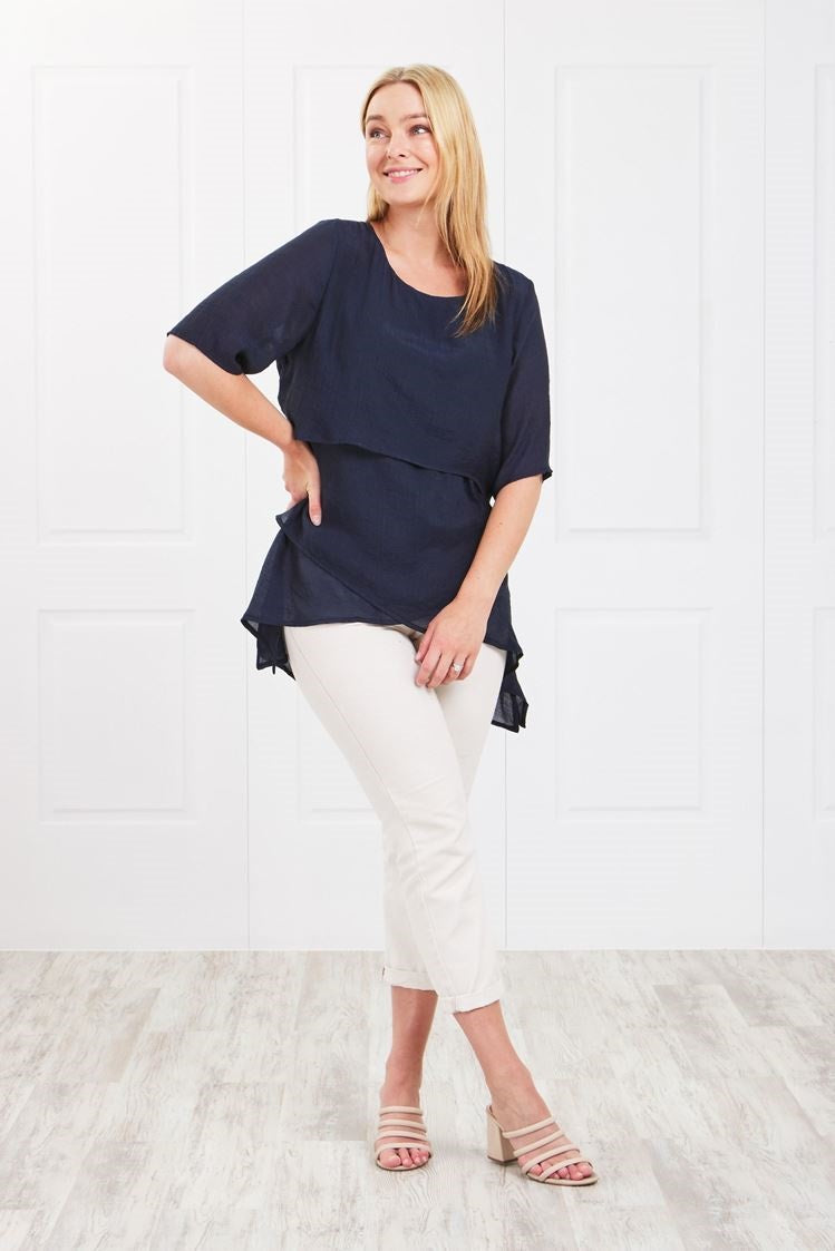 LAYERED FRONT HI LO TOP