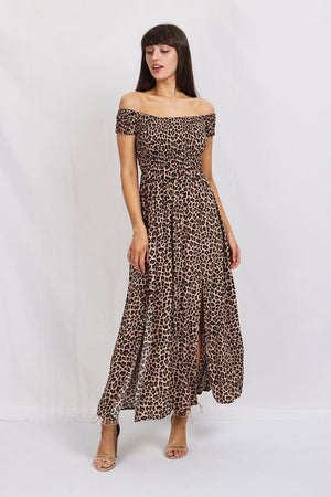 LEOPARD BARDOT MAXI DRESS