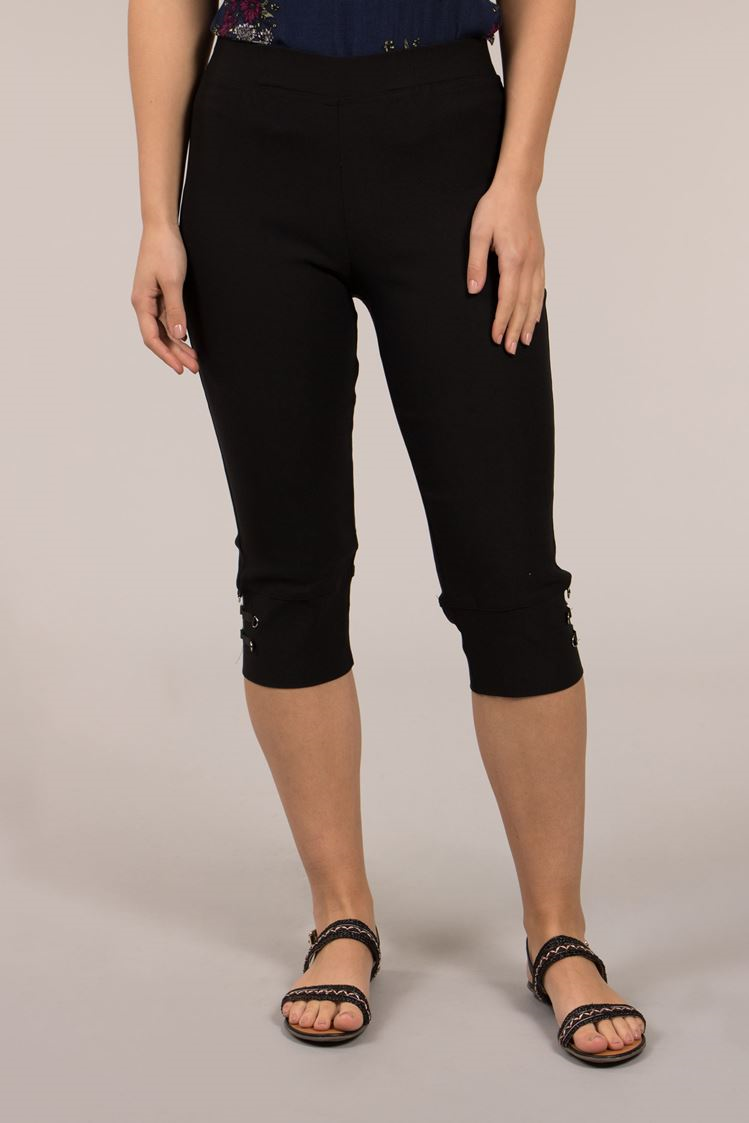 3/4 Stretch Pants With Side Buckle Detail - Black