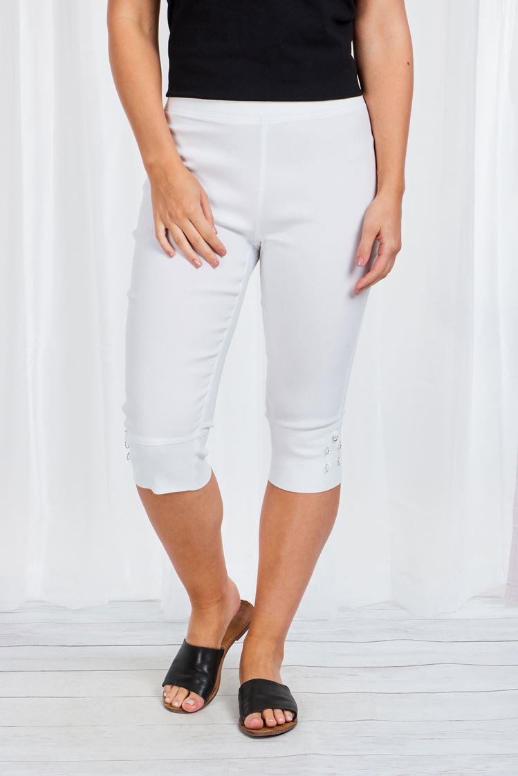 3/4 Stretch Pants With Side Buckle Detail - White