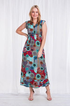 Circular Printed Frill Maxi Dress
