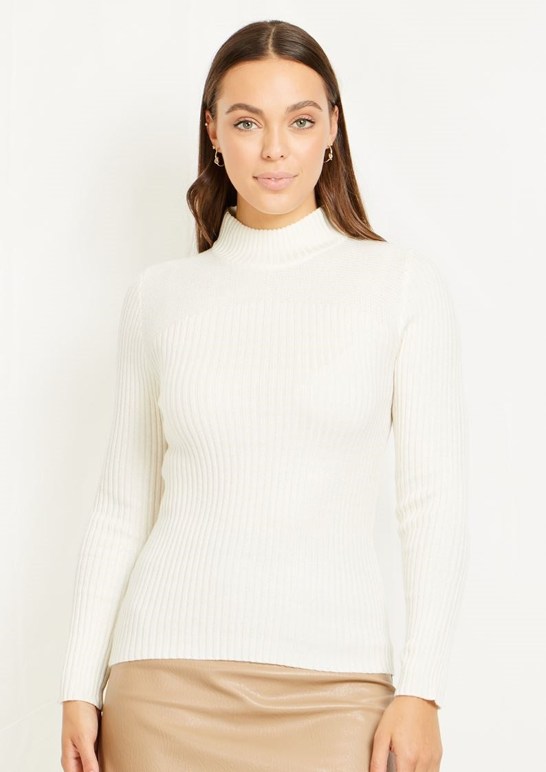 RIBBED POLO NECK KNIT TOP