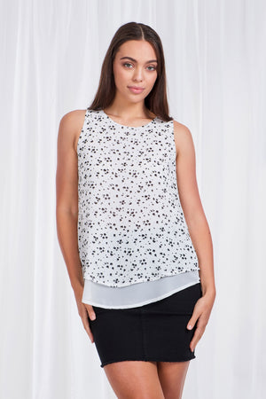 Sleeveless Printed Layered Top