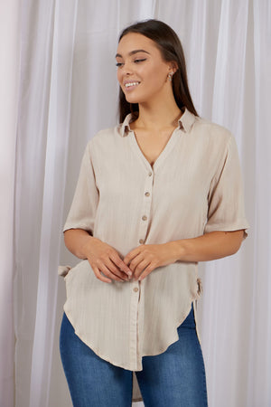 Rounded Hem Shirt With Side Ties
