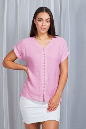 Cap Sleeve Button Front Top