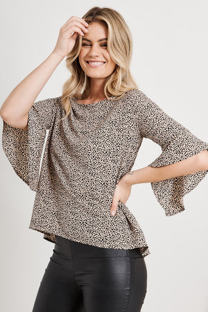 Printed Flute Sleeve Blouse
