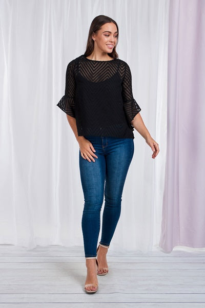 Flute Sleeve Embossed Sheer Blouse