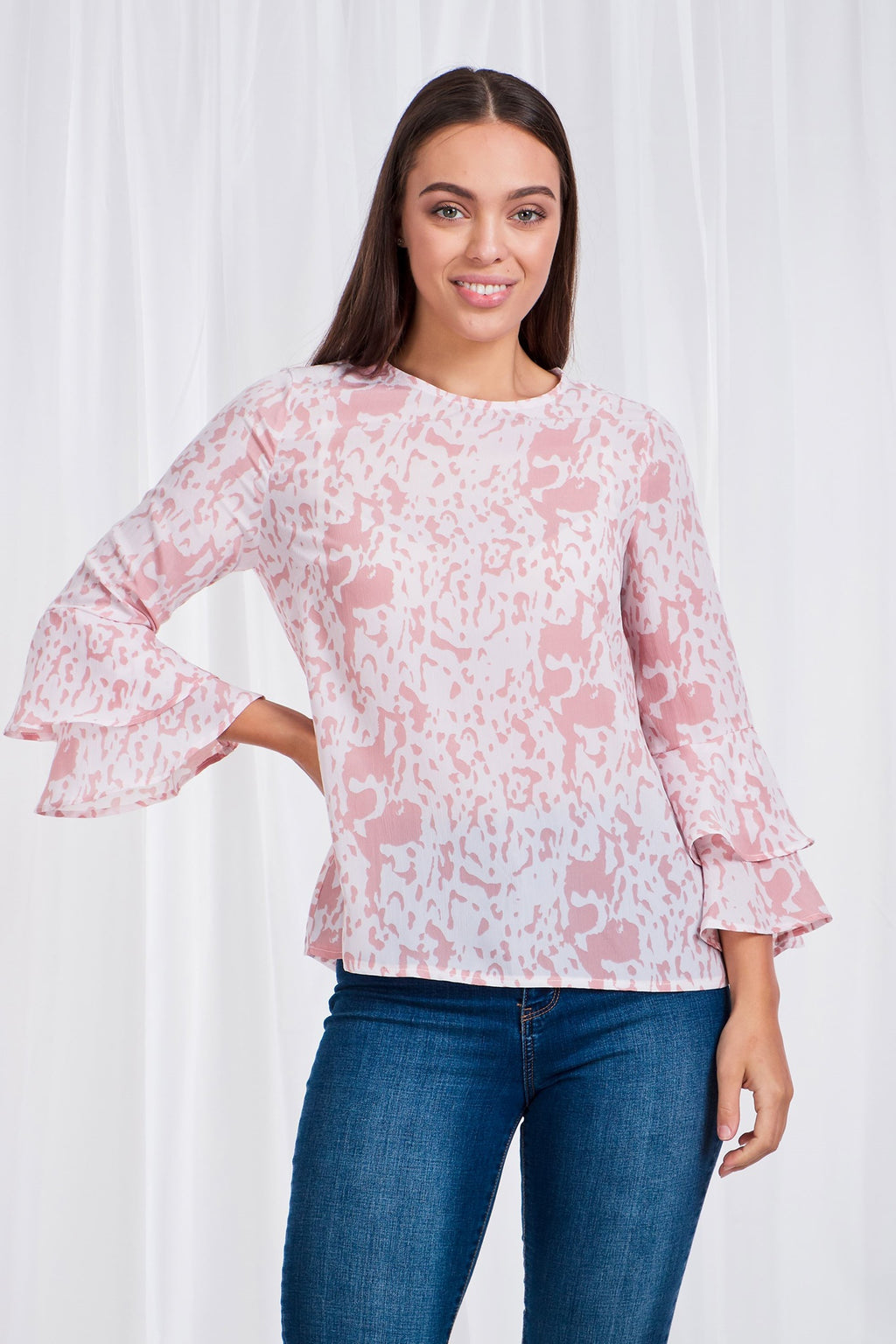 Soft Print Frill Sleeve Blouse