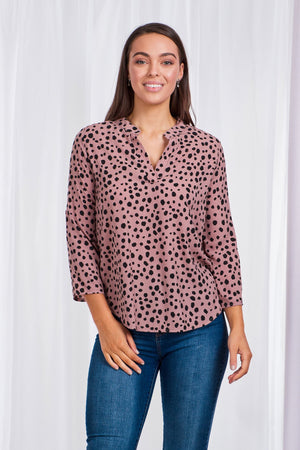 Polka Dot Mandarin Collar Blouse