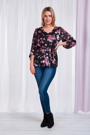 Balloon Sleeve V-Neck Floral Blouse With Tie